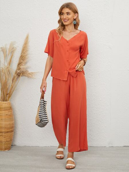 Solid Button Up Top & Wide Leg Pants