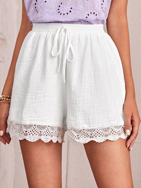 Lace Trim Knot Waist Shorts