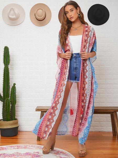 Tassel Tie Front Floral Print Kimono