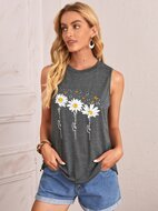 Daisy and Butterfly Print Tank Top