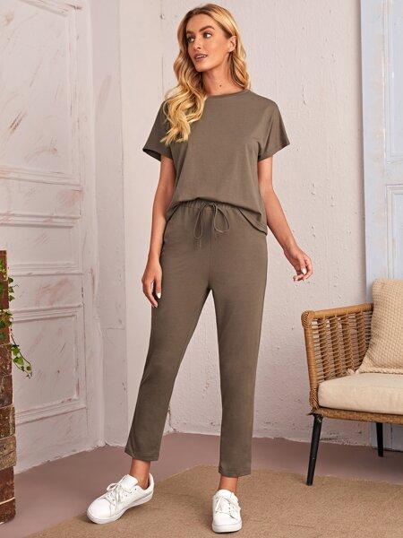 Batwing Sleeve Solid Top & Pants Set