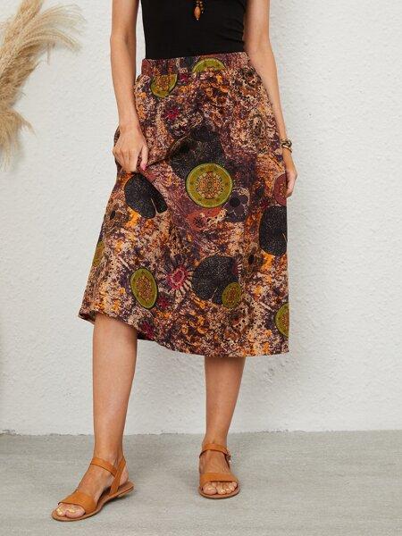Graphic Print Pocket A-line Skirt