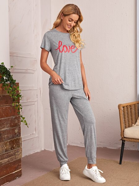 Letter Graphic Tee And Joggers Set
