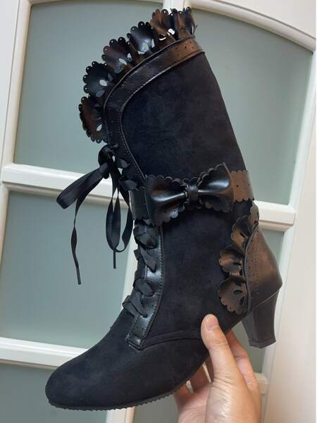 Bow & Ruffle Decor Lace-up Front Boots