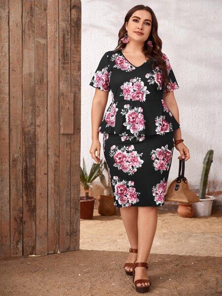 Plus Floral Print V-neck Peplum Top & Skirt Set