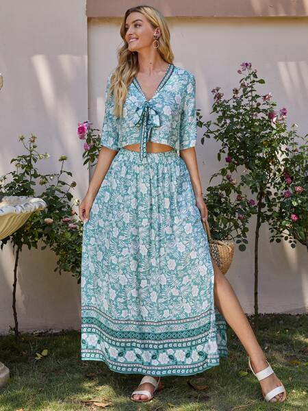 Allover Floral Print Knot Front Blouse With Split Thigh Skirt