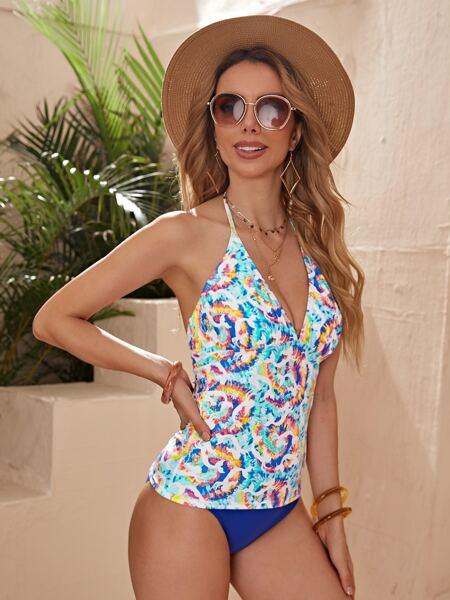 Mermaid & Tie Dye Halter Bikini Swimsuit