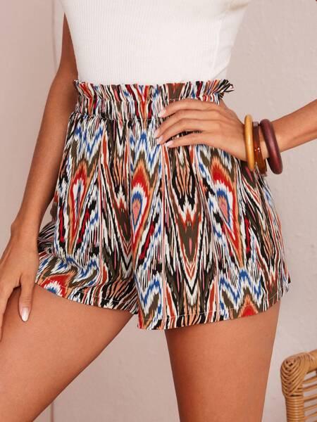 Paperbag Waist Allover Print Shorts