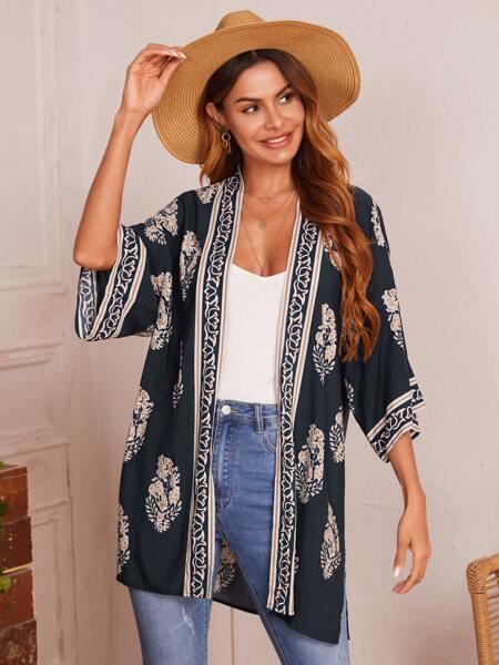 Open Front Allover Print Kimono