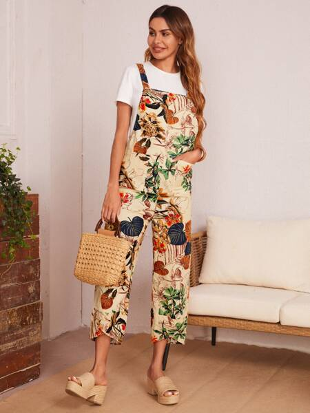 Leaves Print Overall Jumpsuit Without Top