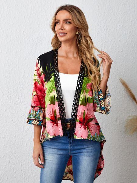 Floral Print Contrast Crochet Kimono