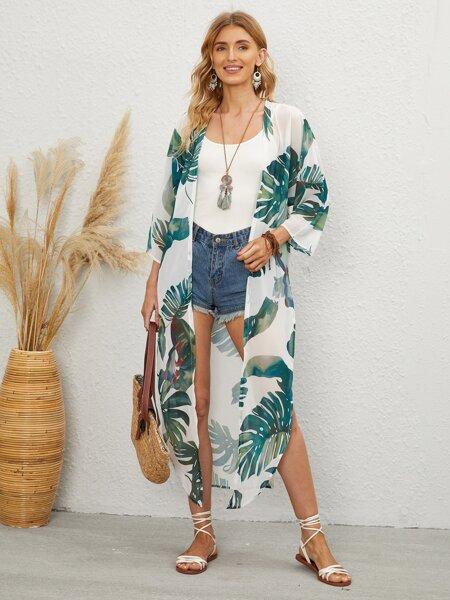 Tropical Print Knot Front Kimono