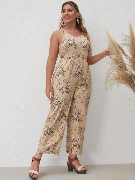 Plus Allover Floral Cami Jumpsuit