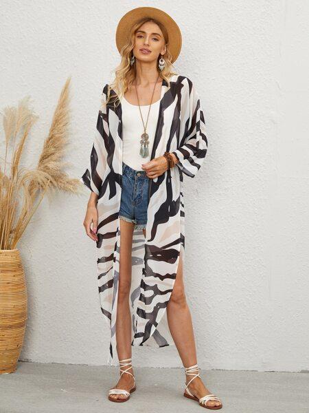 Striped Knot Front Kimono