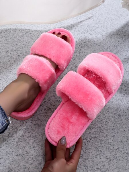 Minimalist Double Strap Fluffy Slippers
