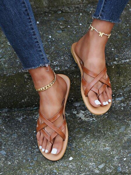 Cross Strap Thong Sandals