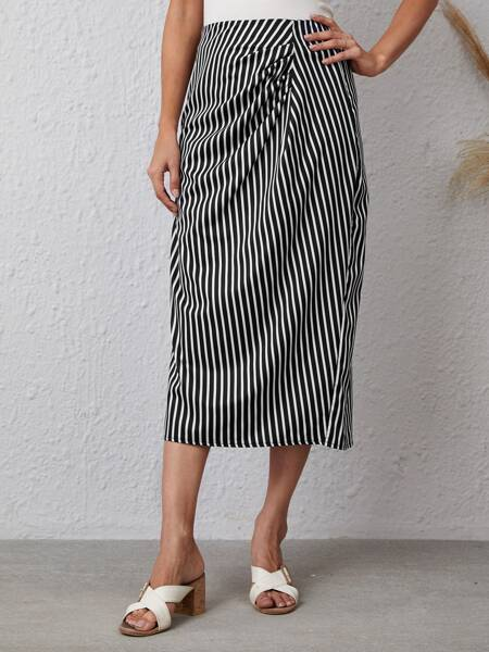 Striped Print Ruched Skirt