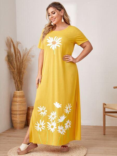 Plus Floral Print Tee Dress
