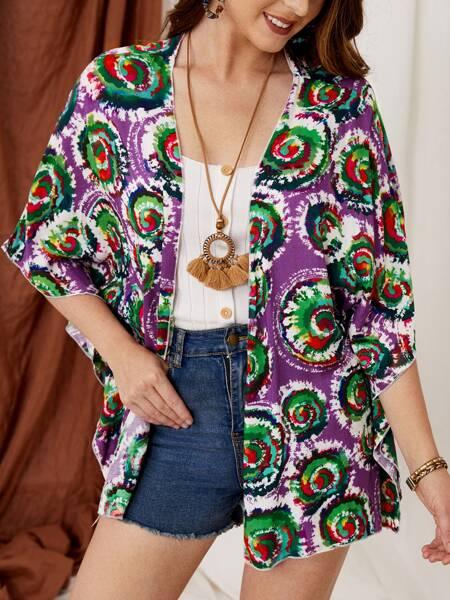 Tie Dye Open Front Kimono