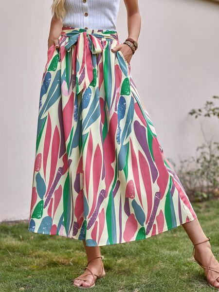 Tie Front Slant Pockets A-line Skirt