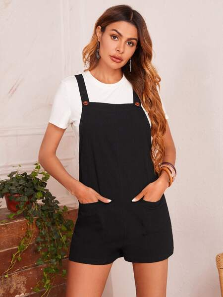 Pocket Patched Overalls Without Top