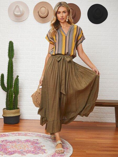 Ruffle Hem Belted Solid Skirt