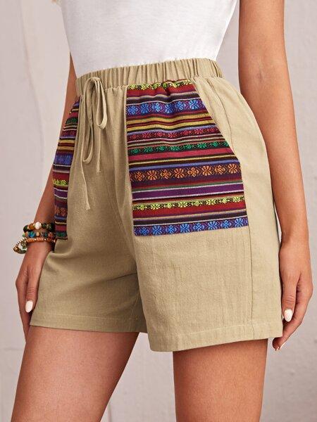 Knot Waist Contrast Slant Pocket Shorts