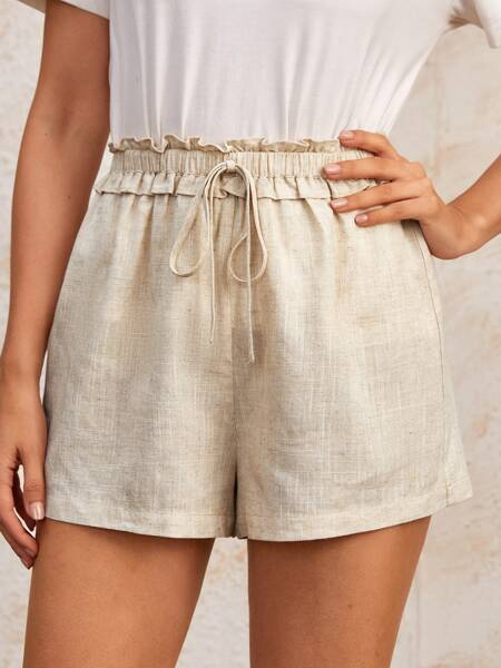 Paperbag Knot Waist Solid Shorts