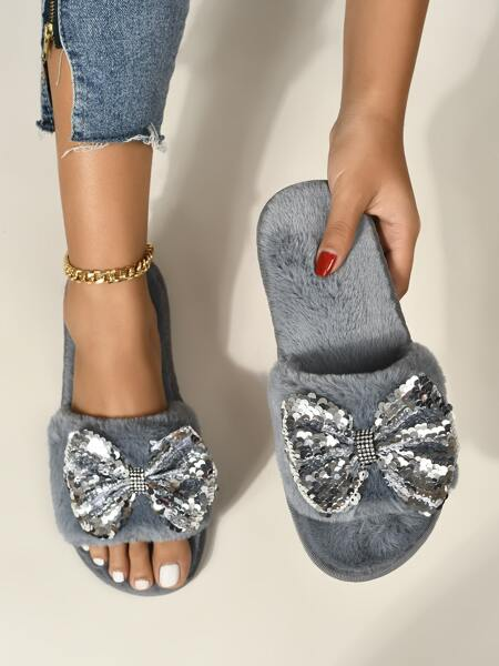 Sequins Bow Decor Fluffy Slippers