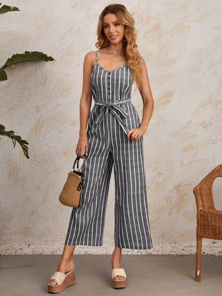 Button Front Self Belted Striped Cami Jumpsuit