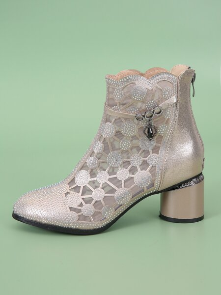 Rhinestone Decor Mesh Panel Zip Back Chunky Boots