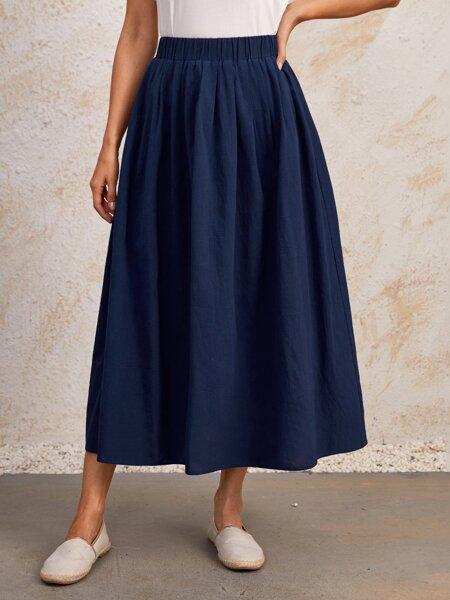 Solid Elastic Waist Skirt