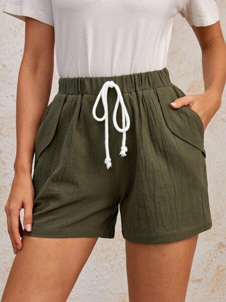 Knot Front Slant Pocket Shorts