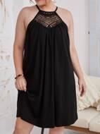 Plus Tie Back Guipure Lace Insert Halter Dress