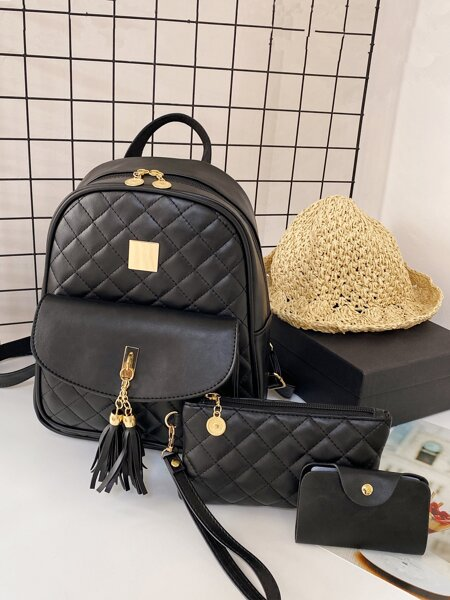 3pcs Tassel Charm Quilted Backpack Set