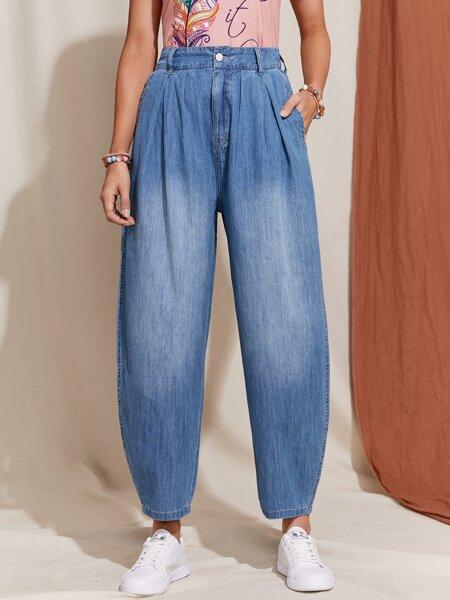 High Waist Fold Pleat Baggy Jeans