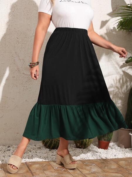 Plus Colorblock Flounce Hem Skirt