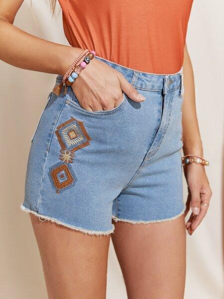 Raw Hem Embroidered Detail Denim Shorts
