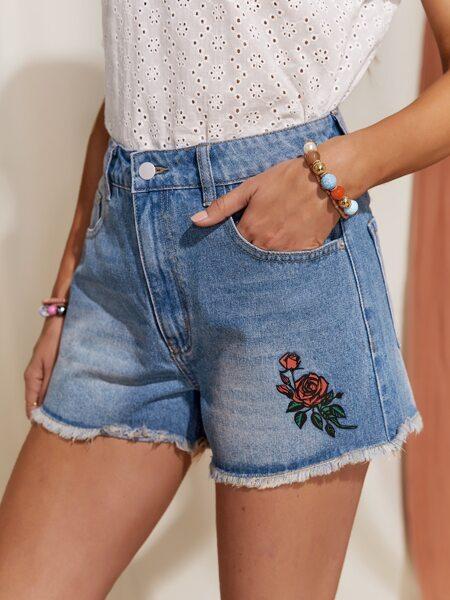 Bleach Wash Floral Embroidered Raw Hem Denim Shorts