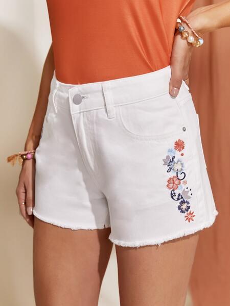 Floral Embroidered Raw Hem Denim Shorts