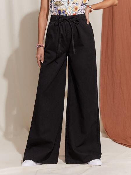 Knot Front Wide Leg Jeans