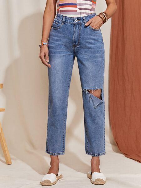 Bleach Wash Ripped Detail Straight Leg Jeans