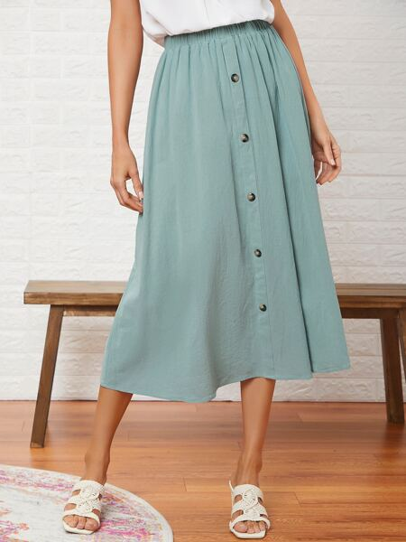 Solid Button Front Skirt