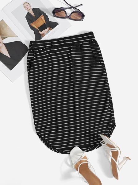 Striped Print Curved Hem Skirt