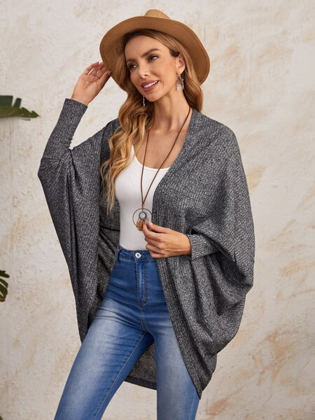 Batwing Sleeve Rib-knit Open Front Coat