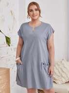 Plus Notch Neck Pocket Patched Dress