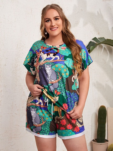 Plus Cat And Trees Print Tee With Drawstring Waist Shorts