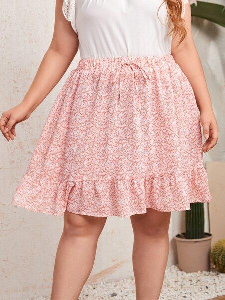 Plus Ditsy Floral Ruffle Hem Skirt