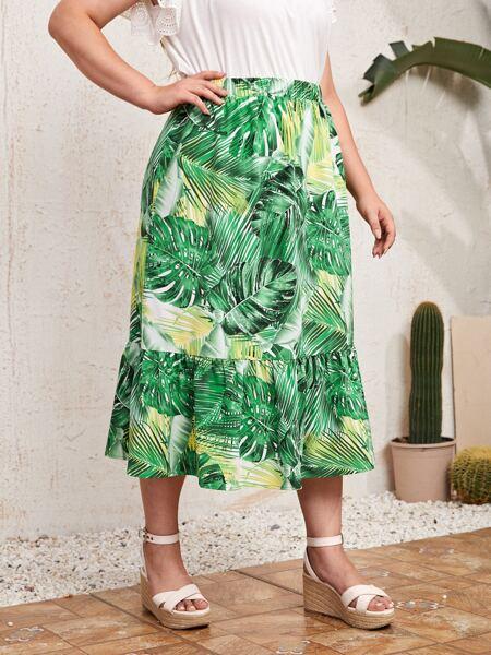Plus Tropical Print Ruffle Hem Dress