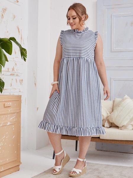 Plus Ruffle Trim Striped Smock Dress